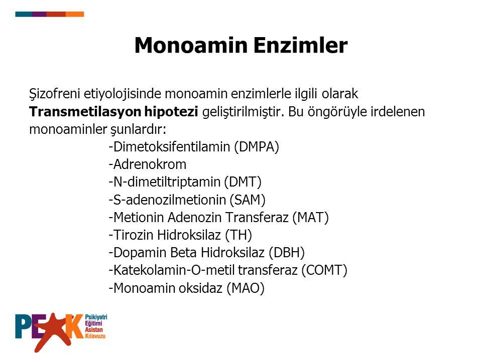 Monoamin Enzimler Şizofreni etiyolojisinde monoamin enzimlerle ilgili olarak. Transmetilasyon hipotezi geliştirilmiştir. Bu öngörüyle irdelenen.