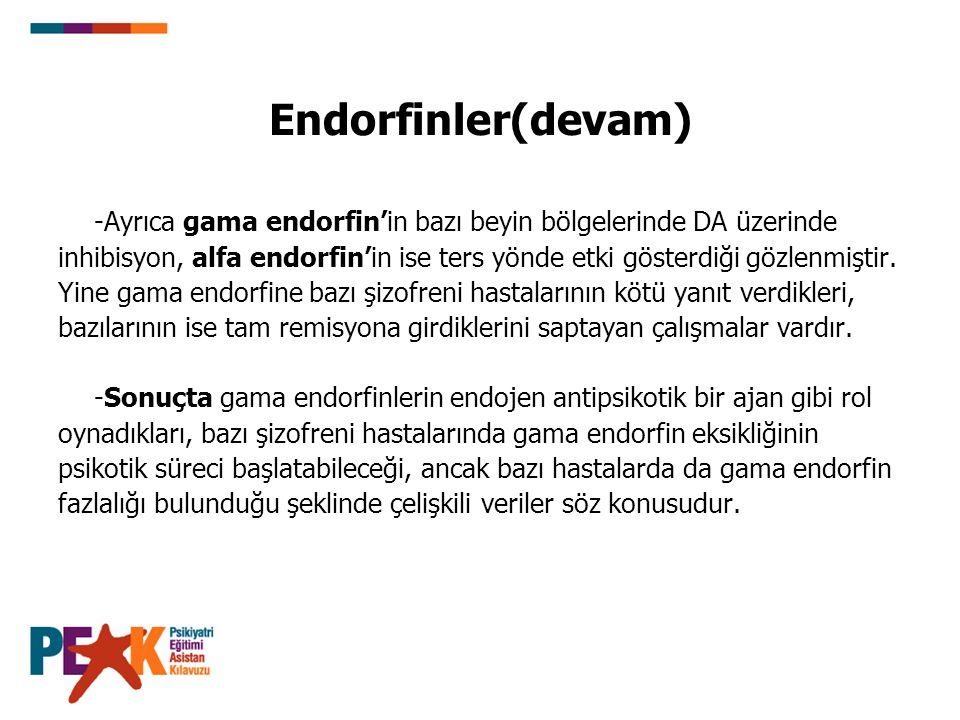 Endorfinler(devam) -Ayrıca gama endorfin'in bazı beyin bölgelerinde DA üzerinde.