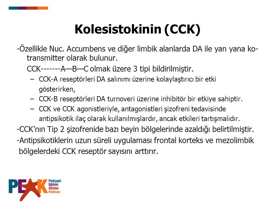 Kolesistokinin (CCK) -Özellikle Nuc. Accumbens ve diğer limbik alanlarda DA ile yan yana ko-transmitter olarak bulunur.
