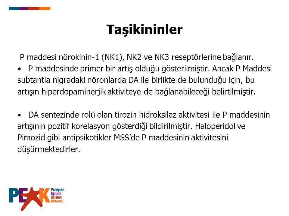 Taşikininler P maddesi nörokinin-1 (NK1), NK2 ve NK3 reseptörlerine bağlanır. P maddesinde primer bir artış olduğu gösterilmiştir. Ancak P Maddesi.