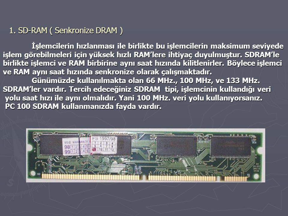 1. SD-RAM ( Senkronize DRAM )