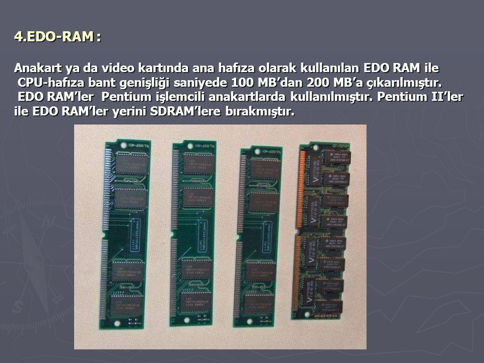 4.EDO-RAM : Anakart ya da video kartında ana hafıza olarak kullanılan EDO RAM ile.