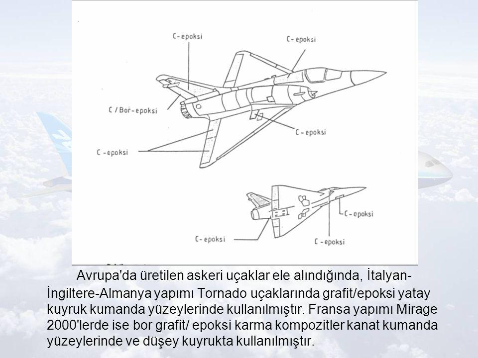 Avrupa da üretilen askeri uçaklar ele alındığında, İtalyan-İngiltere-Almanya yapımı Tornado uçaklarında grafit/epoksi yatay kuyruk kumanda yüzeylerinde kullanılmıştır.