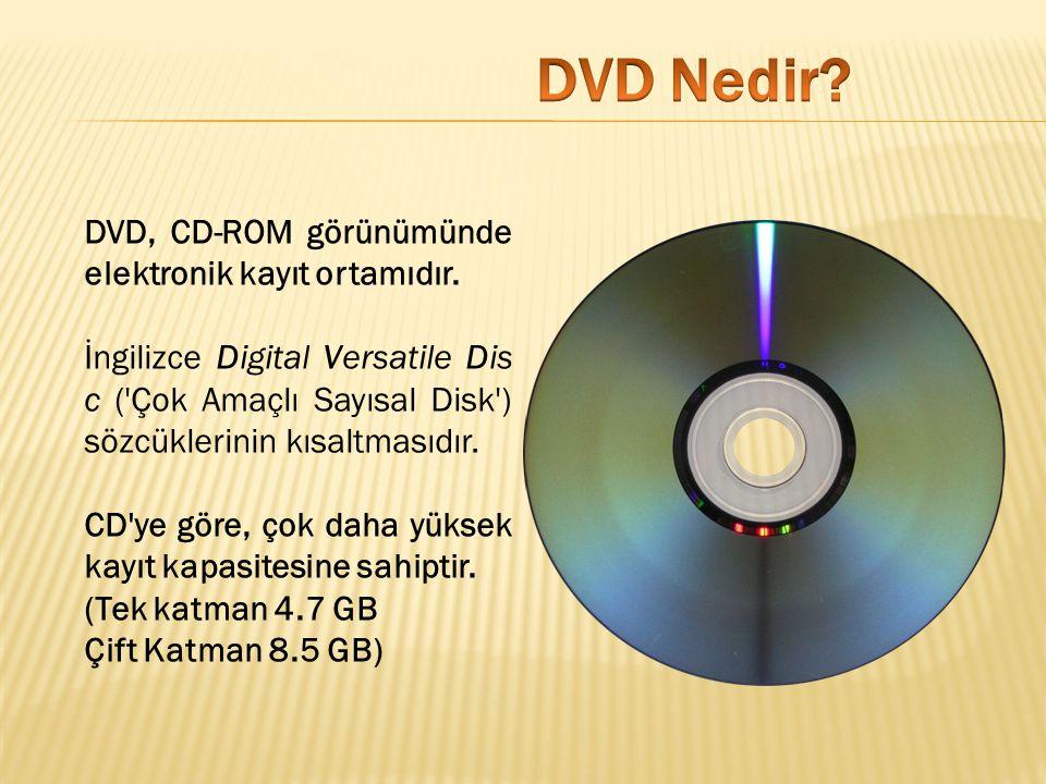 DVD Nedir DVD, CD-ROM görünümünde elektronik kayıt ortamıdır.