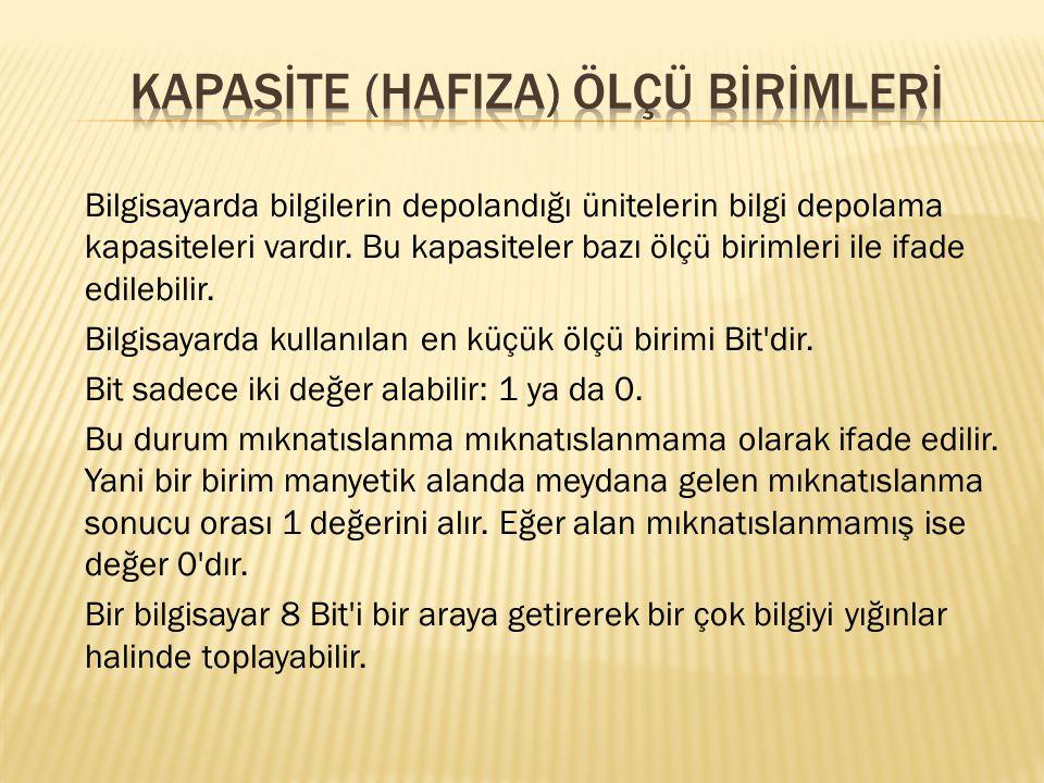 KAPASİTE (HAFIZA) ÖLÇÜ BİRİMLERİ
