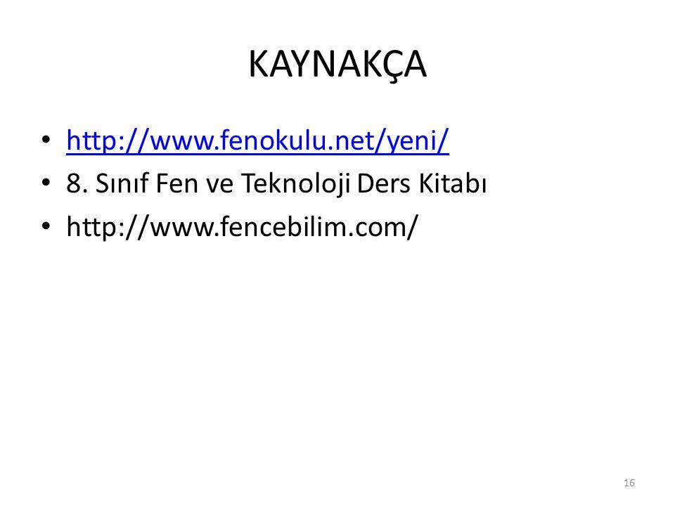 KAYNAKÇA http://www.fenokulu.net/yeni/