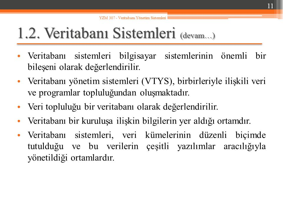 1.2. Veritabanı Sistemleri (devam…)