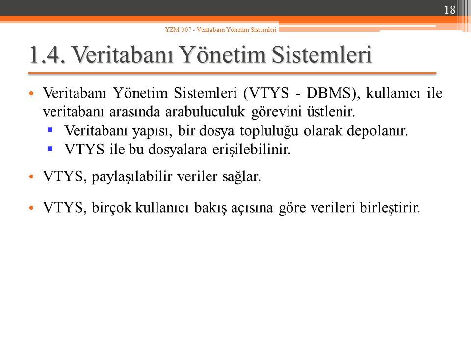 1.4. Veritabanı Yönetim Sistemleri