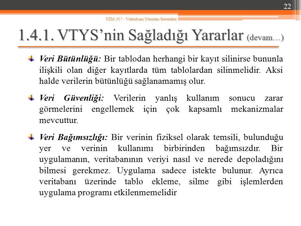 1.4.1. VTYS'nin Sağladığı Yararlar (devam…)
