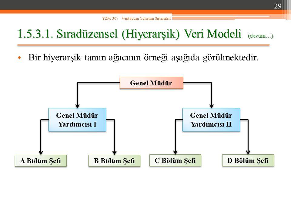 1.5.3.1. Sıradüzensel (Hiyerarşik) Veri Modeli (devam…)
