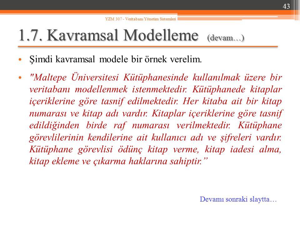 1.7. Kavramsal Modelleme (devam…)