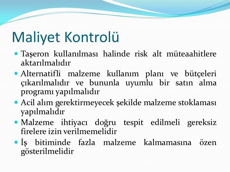 Maliyet Kontrolü Taşeron kullanılması halinde risk alt müteaahitlere aktarılmalıdır.
