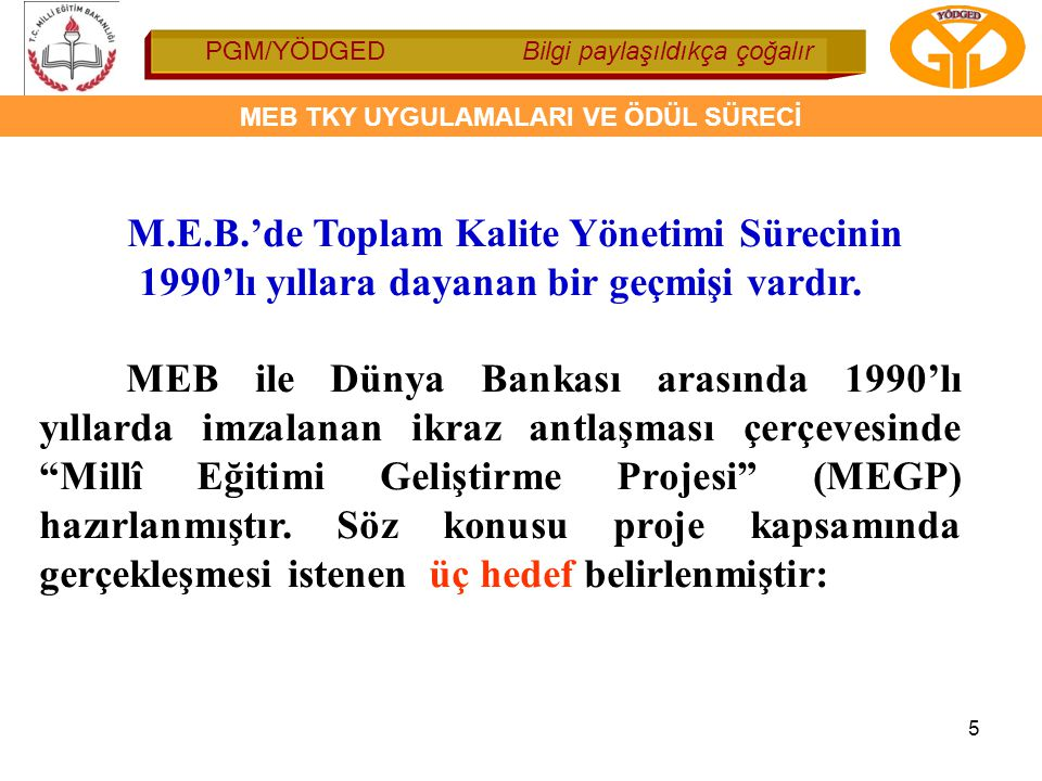 M.E.B.'de Toplam Kalite Yönetimi Sürecinin 1990'lı yıllara dayanan bir geçmişi vardır.