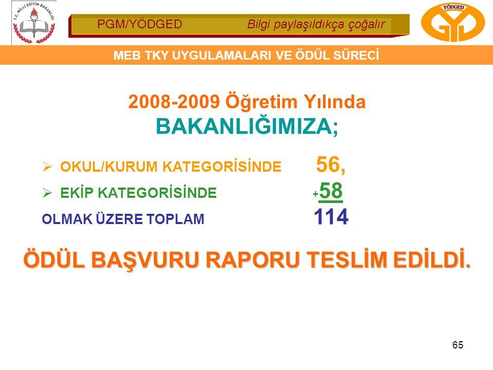 ÖDÜL BAŞVURU RAPORU TESLİM EDİLDİ.