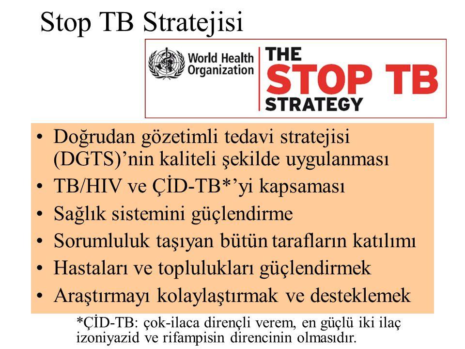 Stop TB Stratejisi Doğrudan gözetimli tedavi stratejisi (DGTS)'nin kaliteli şekilde uygulanması. TB/HIV ve ÇİD-TB*'yi kapsaması.