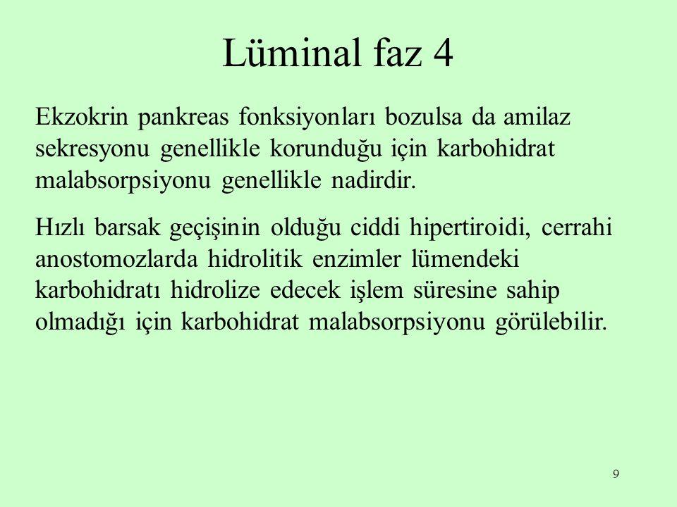 Lüminal faz 4 Ekzokrin pankreas fonksiyonları bozulsa da amilaz sekresyonu genellikle korunduğu için karbohidrat malabsorpsiyonu genellikle nadirdir.