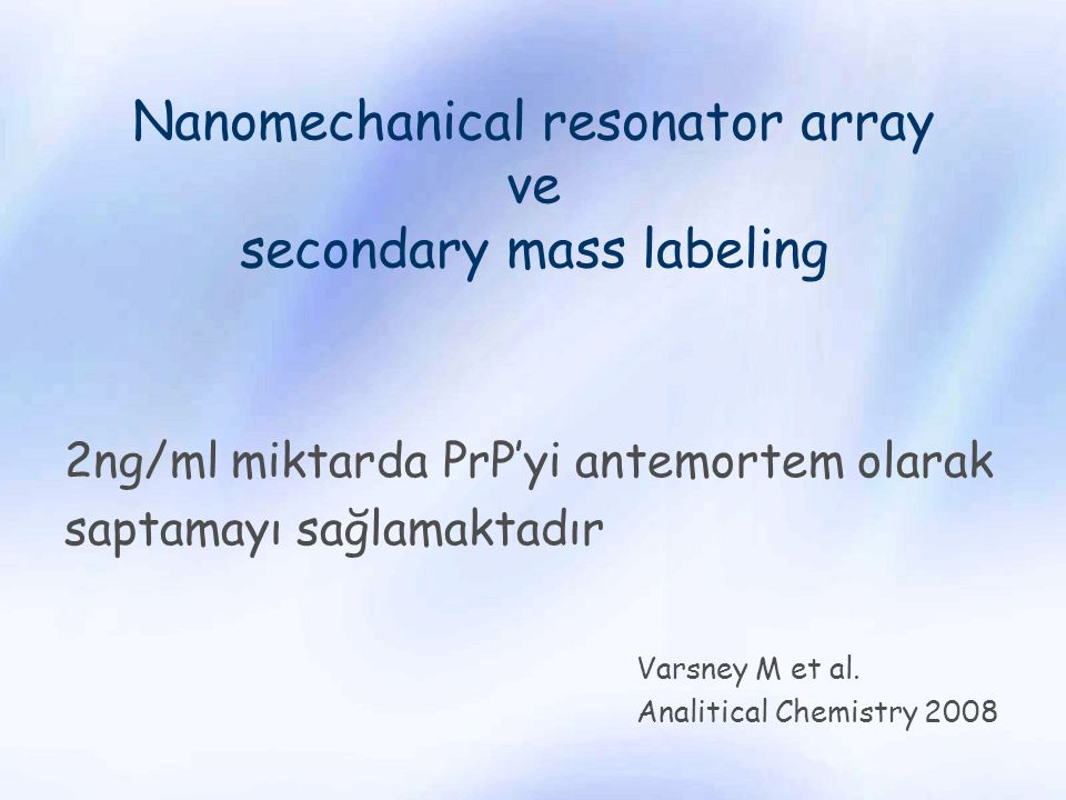 Nanomechanical resonator array ve secondary mass labeling