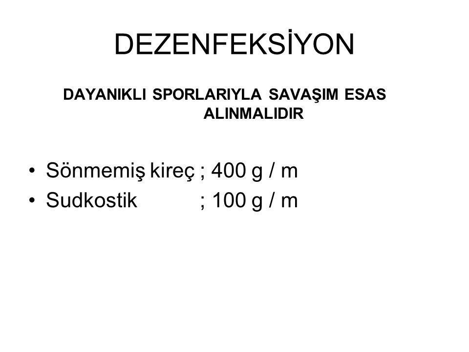 DEZENFEKSİYON Sönmemiş kireç ; 400 g / m Sudkostik ; 100 g / m