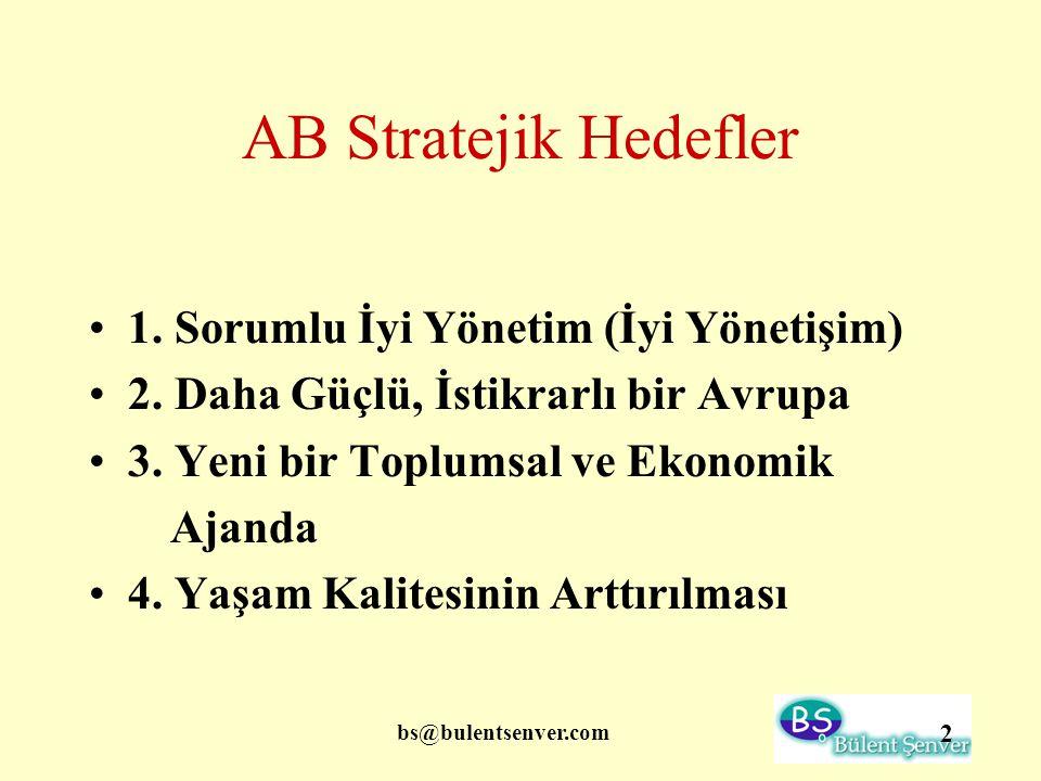 AB Stratejik Hedefler 1. Sorumlu İyi Yönetim (İyi Yönetişim)