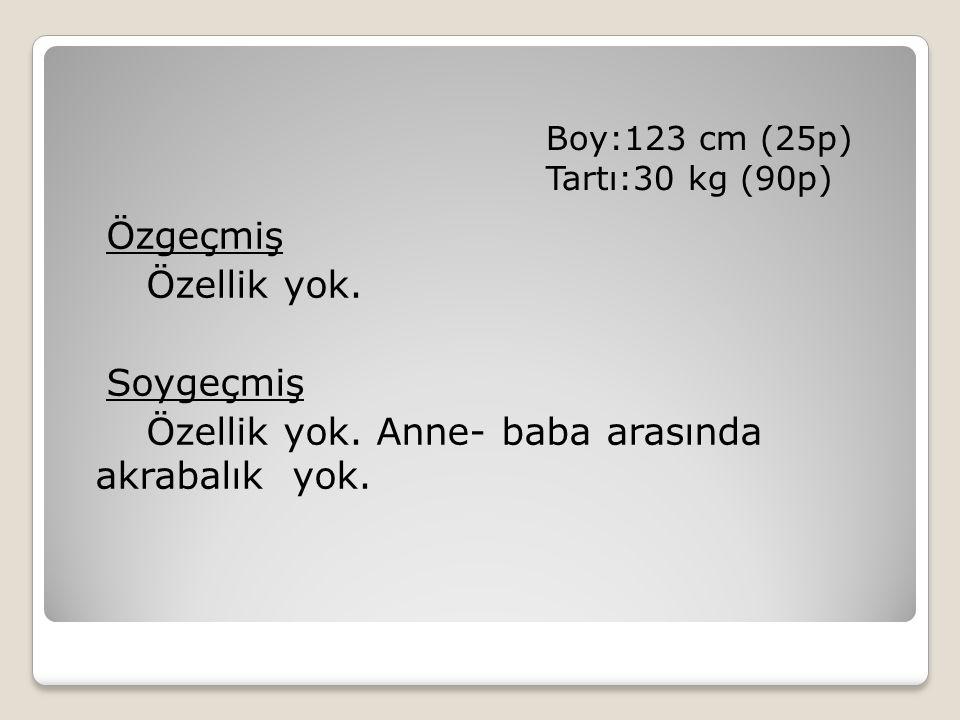 Boy:123 cm (25p) Tartı:30 kg (90p)