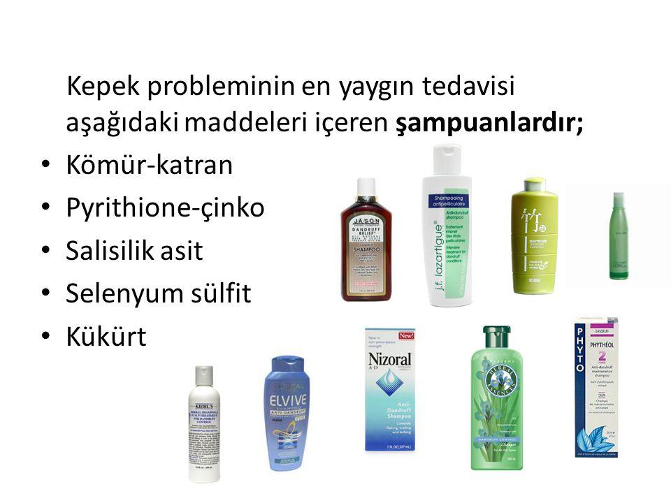 Kepek probleminin en yaygın tedavisi aşağıdaki maddeleri içeren şampuanlardır;