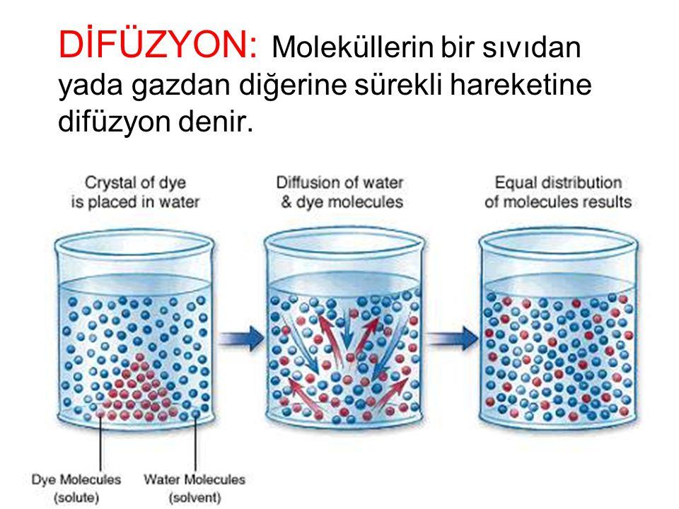 DİFÜZYON: Moleküllerin bir sıvıdan yada gazdan diğerine sürekli hareketine difüzyon denir.