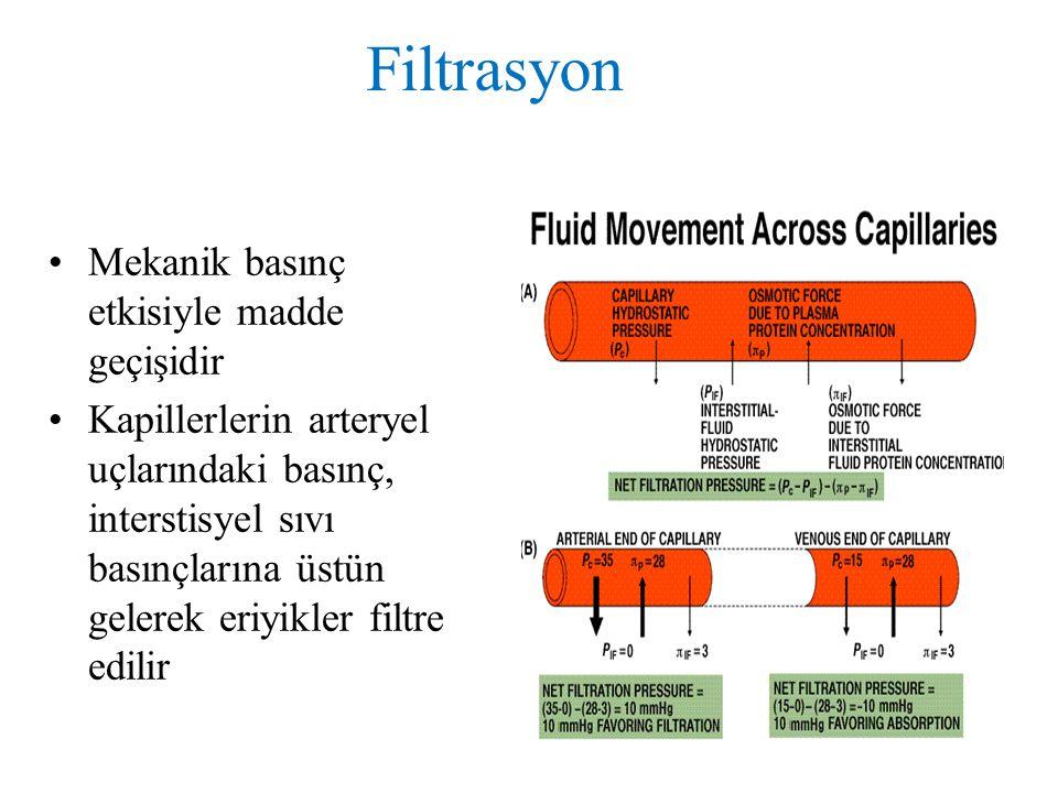 Filtrasyon Mekanik basınç etkisiyle madde geçişidir