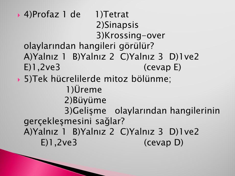 4)Profaz 1 de 1)Tetrat. 2)Sinapsis. 3)Krossing-over