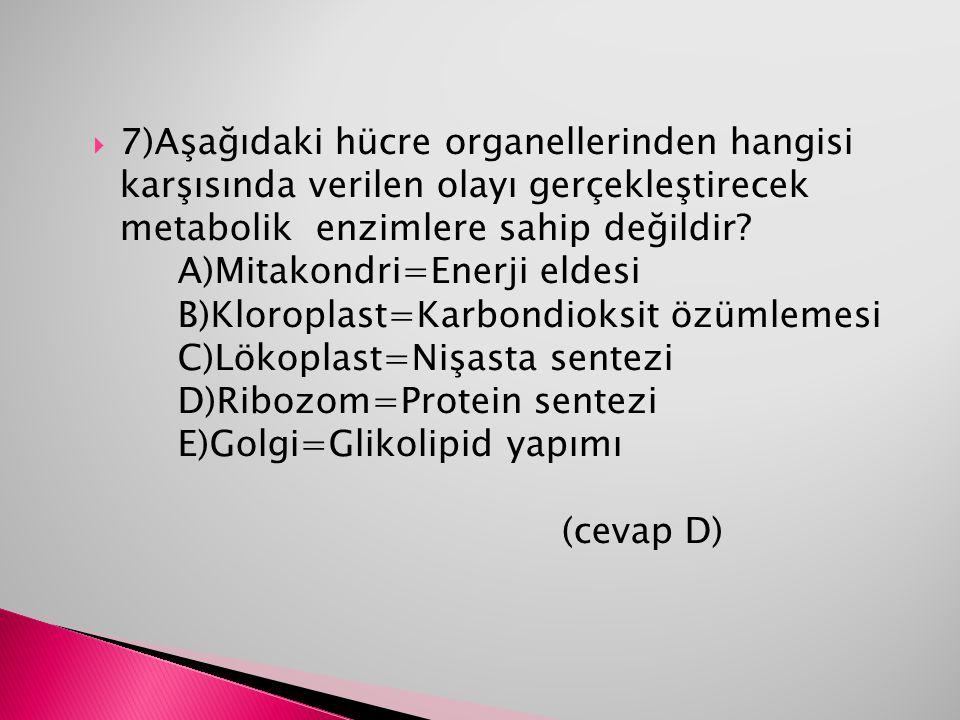 7)Aşağıdaki hücre organellerinden hangisi karşısında verilen olayı gerçekleştirecek metabolik enzimlere sahip değildir.