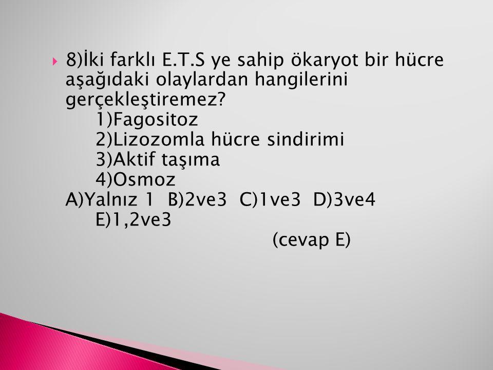 8)İki farklı E.T.S ye sahip ökaryot bir hücre aşağıdaki olaylardan hangilerini gerçekleştiremez 1)Fagositoz 2)Lizozomla hücre sindirimi 3)Aktif taşıma 4)Osmoz A)Yalnız 1 B)2ve3 C)1ve3 D)3ve4 E)1,2ve3 (cevap E)