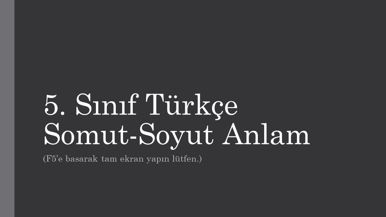 5. Sınıf Türkçe Somut-Soyut Anlam