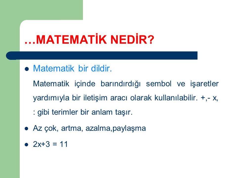 …MATEMATİK NEDİR Matematik bir dildir.