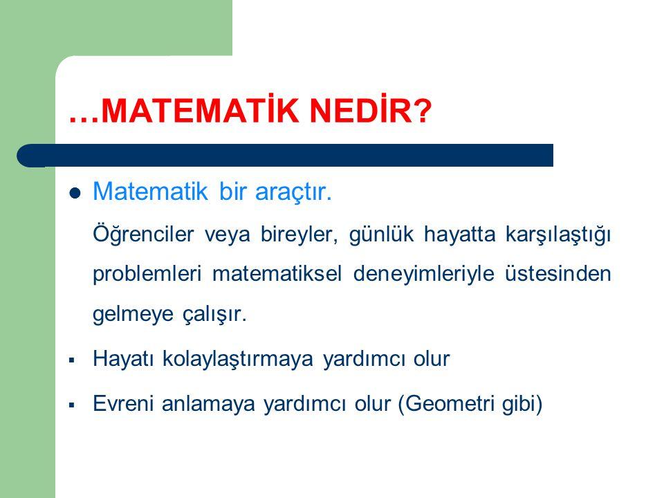 …MATEMATİK NEDİR Matematik bir araçtır.