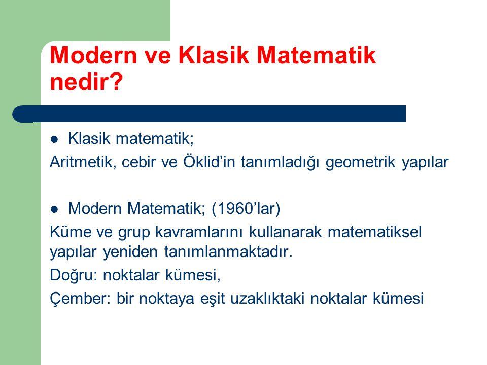 Modern ve Klasik Matematik nedir