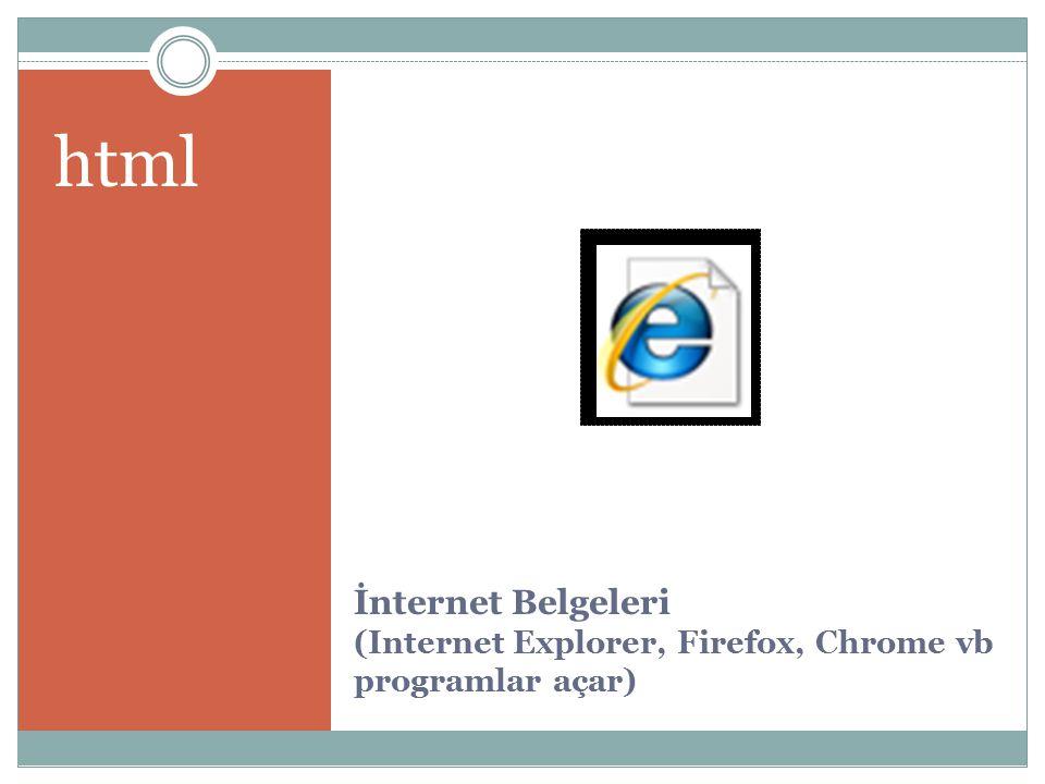 html İnternet Belgeleri (Internet Explorer, Firefox, Chrome vb programlar açar)