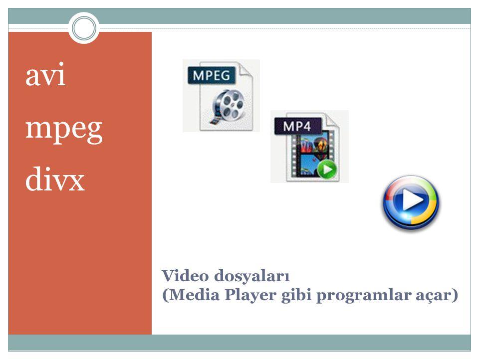 Video dosyaları (Media Player gibi programlar açar)