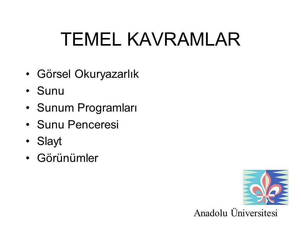 TEMEL KAVRAMLAR Görsel Okuryazarlık Sunu Sunum Programları