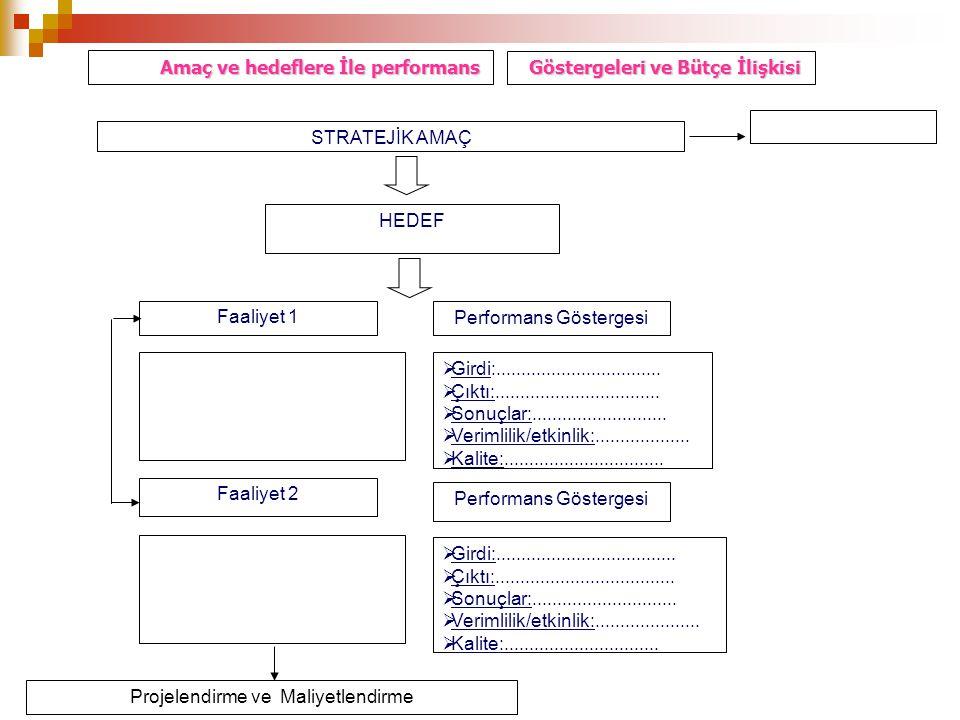 Amaç ve hedeflere İle performans Göstergeleri ve Bütçe İlişkisi