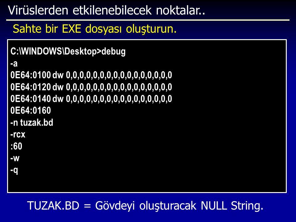 TUZAK.BD = Gövdeyi oluşturacak NULL String.