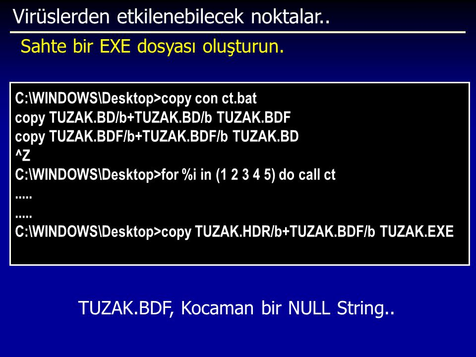 TUZAK.BDF, Kocaman bir NULL String..