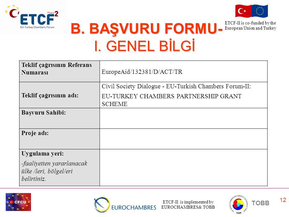 B. BAŞVURU FORMU- I. GENEL BİLGİ