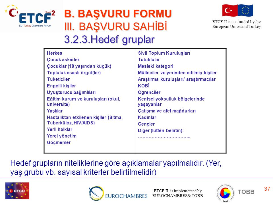 B. BAŞVURU FORMU III. BAŞVURU SAHİBİ 3.2.3.Hedef gruplar