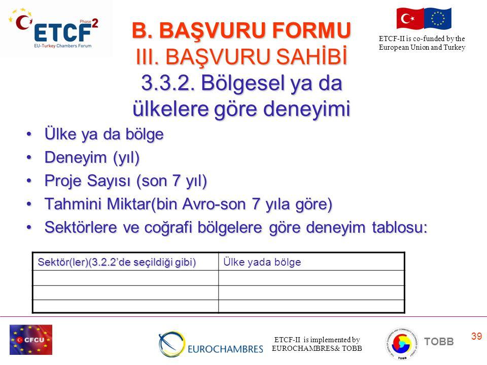 B. BAŞVURU FORMU III. BAŞVURU SAHİBİ 3. 3. 2