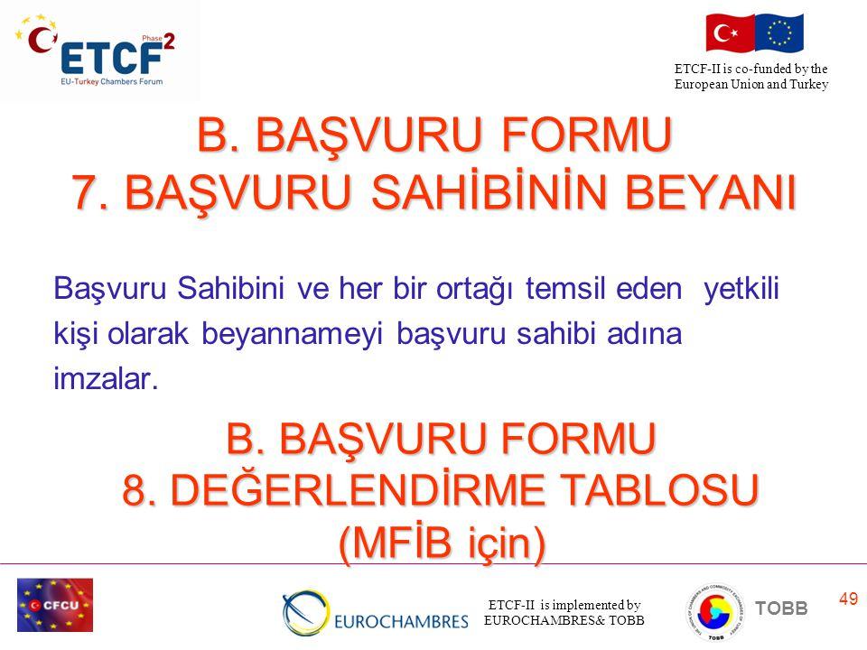 B. BAŞVURU FORMU 7. BAŞVURU SAHİBİNİN BEYANI