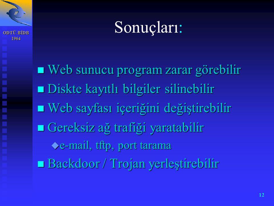 Sonuçları: Web sunucu program zarar görebilir