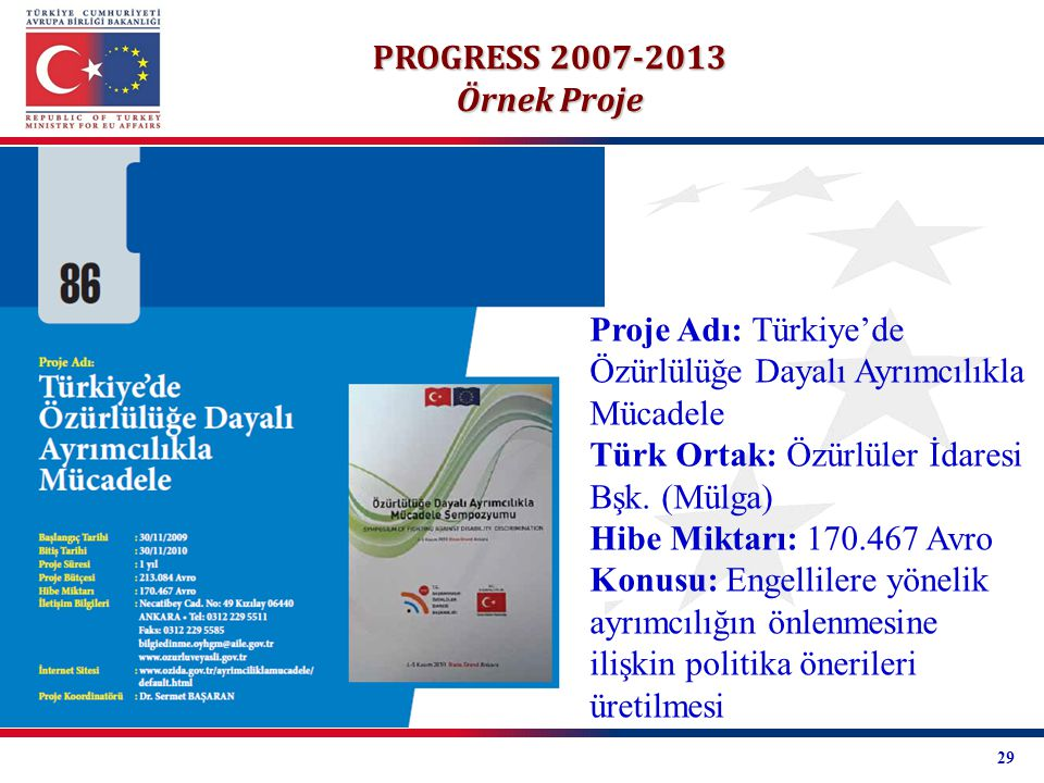 Proje Adı: Türkiye'de Özürlülüğe Dayalı Ayrımcılıkla Mücadele