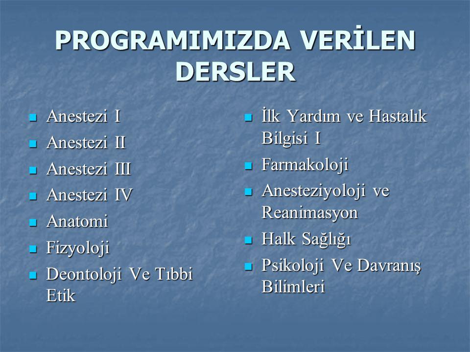 PROGRAMIMIZDA VERİLEN DERSLER