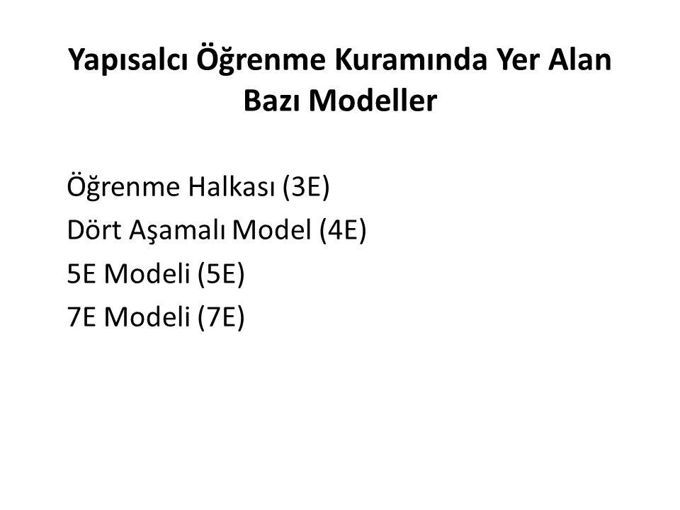 Yapısalcı Öğrenme Kuramında Yer Alan Bazı Modeller