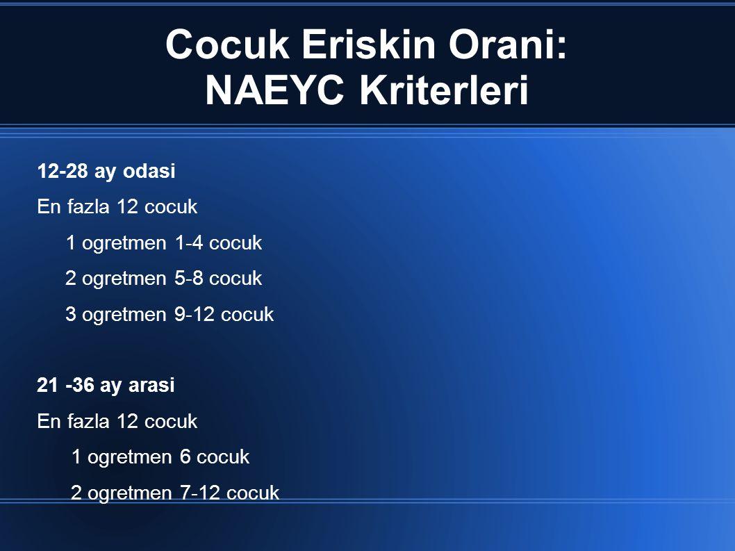 Cocuk Eriskin Orani: NAEYC Kriterleri