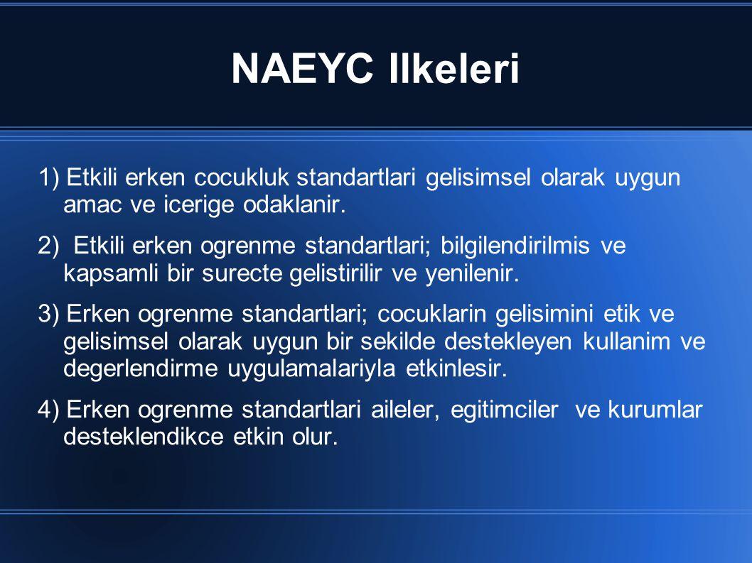 NAEYC Ilkeleri 1) Etkili erken cocukluk standartlari gelisimsel olarak uygun amac ve icerige odaklanir.